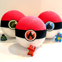 SALE Pokeball Inspired Bath Bomb HUGE 10 oz Comes with a Toy and Color Variations in the Tub  Pick your Type of Pokemon