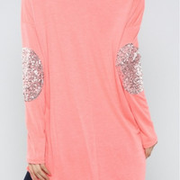 SPARKLE ON Glitter elbow coral tunic top - Shop Simply Me Boutique – Simply Me Boutique
