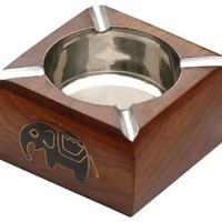 ONE DAY SALE - Premium Quality Stainless Steel Ashtray with Brass Elephant Decor Wood Retro Ash tray with 4 Cigarette Slots for Outdoors and Indoors