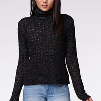 Kendall & Kylie Turtleneck Pullover Sweater - Womens Sweater - Black