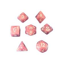 Pink Marbled - Plastic Set of 7 Polyhedral RPG Dice for D&D