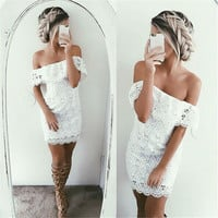 Lace Women's Fashion Summer Sexy One Piece Dress [9882728591]