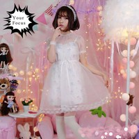 2017 lolita vintage sweet cute japanese harajuku unicorn print dress dream gauze smock harness short dress two piece set