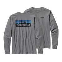 Patagonia Men's Long-Sleeved P6 Logo Cotton T-Shirt | Crater Blue
