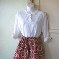 White Cotton Blouse w/ Eyelet Lace & Pintucks; Women's Small Long-Sleeve Pinafore Style Woven Top ; U.S. Shipping Included