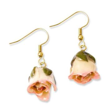 Lacquered Cream & Pink Real Rose Dangle Earrings