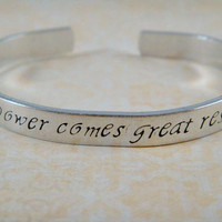 Spiderman Jewelry / Spiderman Bracelet / Comic Book Jewelry / Aluminum Handstamped Bracelet / With Great Power Comes Great Responsibility