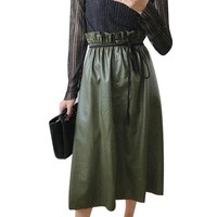 Winter New Ruffles High Waisted Leather Skirt Length A Chic Women Style Elegant Vintage PU Skirts All-match Ladies Midi Skirts