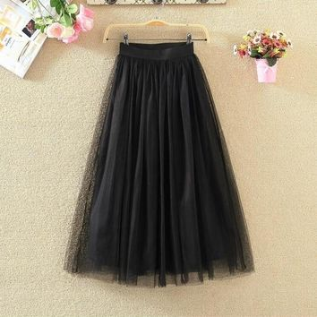 High Waist Long Tulle Skirt