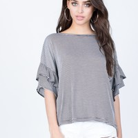Blurred Lines Ruffle Top