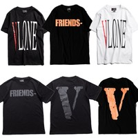 2017 New VLONE Big V T-Shirts Men Women Virgil Abloh Purpose tour Friend T-Shirt Kanye West Hip Hop Brand Fashion Vlone T Shirt
