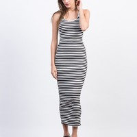 Caged Back Striped Dress