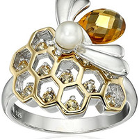 Sterling Silver Genuine Citrine and Pearl Bee Honeycomb Ring, Size 7