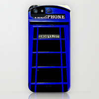Telephone Booth (blue) iPhone & iPod Case by Shawn King