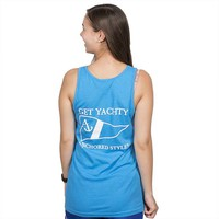 GET YACHTY TANK TOP IN NEON HEATHER BLUE BY ANCHORED STYLE