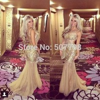 Luxury Cap Sleeve Crystal Champagne Prom Dresses 2014 See Through Mermaid Evening Party Gowns For Girl-in Prom Dresses from Apparel & Accessories on Aliexpress.com | Alibaba Group