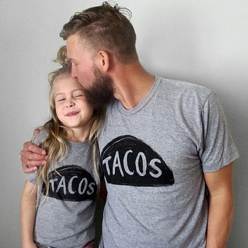 Father Son Daughter Matching Taco T Shirts