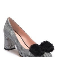 kate spade new york | carine houndstooth faux fur bow pump | Nordstrom Rack