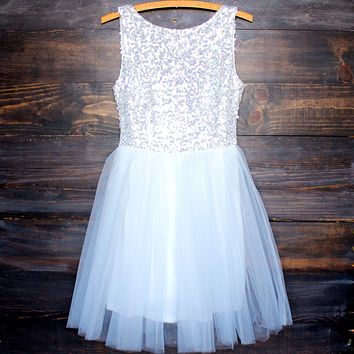 Sugar Plum Dazzling Sequin Darling Party Dress in White