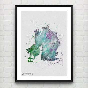 Mike and Sulley Poster, Monsters Inc Disney Watercolor Art Print, Kids Wall Art, Kids Decor, Gift, Not Framed, Buy 2 Get 1 Free! [No. 123]