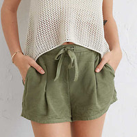 Aerie Pleated Short , Rugged Green