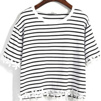 White Striped Crop T-Shirt with Appliques Accent