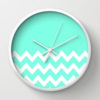 Mint Chevron Colorblock Wall Clock by Beautiful Homes