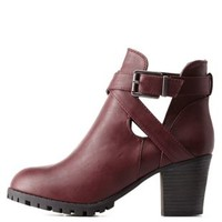 Oxblood Bamboo Belted Lug Sole Booties by Bamboo at Charlotte Russe