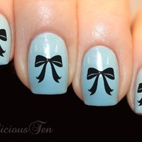 NAILICIOUS TEN Elegant Bows Art Water Nail Wraps Transfer Decal 21pcs - ST8063