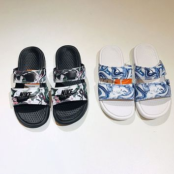 Nike Double Belt Slippers Camouflage Graffiti Slippers Men's Slippers Women's Outer Wear Non-slip All-match Slippers