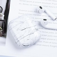 Luxury Marble - Protective Case Cover Compatible with the Apple Airpods Gen 1 or 2 with Wireless Charging Headphones Headphones