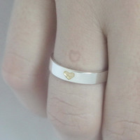 Hidden Heart 925 Sterling silver Ring with gold plated heart and carved heart inside Valentines Gift Engagement Ring VALENTINES DAY SPECIAL