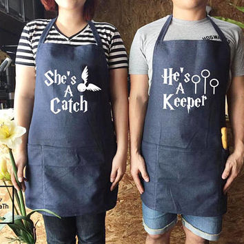 Harry Potter She'a A Catch & He's A Keeper Apron set , canvas jeans Apron, Fiancé Gift, Valentine Gift,Wedding gift, Family Cooking