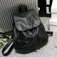 Black Soft Leather Backpack Travel Bag