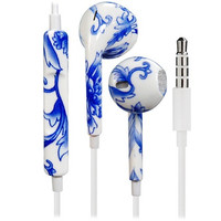 Stunning Blue & White Porcelain Design 3.5mm Plug Earphones/Earbuds with Volume Control & Microphone for iPhone, iPad, iPad Mini (Blue)