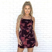 Feeling it Floral Velvet Dress in Plum