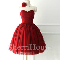 Sweetheart Strapless Short Ball Gown Sleeveless Bridesmaid Celebrity Dress , Mini Evening Party Prom New Homecoming Dress
