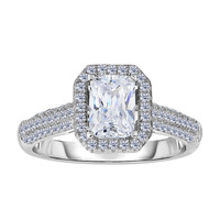 Sterling Silver With Rhodium Finish With Radiant Center And Pave' Set Side Cz Stones Engagement Style Ring
