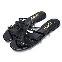 Yves saint Laurent YSL classic patent leather word with metal buckle open toe fashion flat female slippers shoes Black