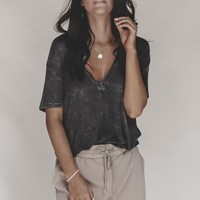 JOAH BROWN Plunge V-neck Tee