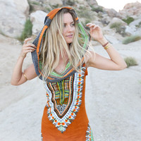 Boho Gypsy Tribal Hoodie Tunic Dress Women Sundress Traditional African Print Dashiki Dresses Sexy Bodycon Party Dress Festival