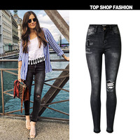 Tassels Black Denim Ripped Holes Cropped Pants [10734936335]
