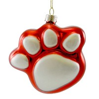Holiday Ornament RED PAW ORNAMENT Blown Glass Dog Cat Christmas 38642