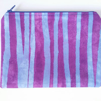 Vertical Stripes Purple & Blue Lined Zipper Pouch 100% Cotton
