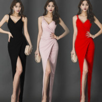 straps fork long dress for party and homecoming