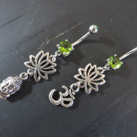 Lotus Ohm Zen Buddha Charm Belly Button Ring Jewelry Navel Piercing Olive Chartreuse Wasabi Green