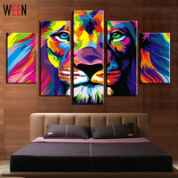 5 Panels Colorful Lion King Animal Abstract Print Canvas Painting Wall Art Picture For Living Room Decoration Artwork With Frame