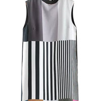 Striped Embroidered Sleeveless Mini Shift Dress