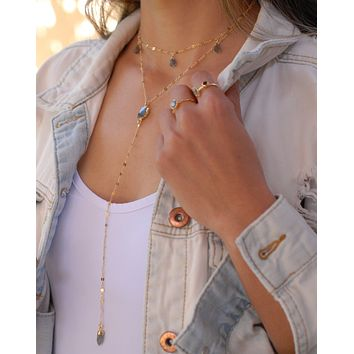 Giovanna Long Y Necklace * Labradorite or Moonstone * Gold Filled * BJN048