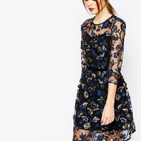 Warehouse   Warehouse Premium Floral Embroidered Dress at ASOS